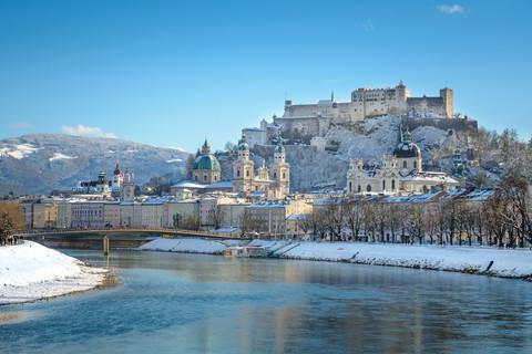 Salzburg im Winter - Salzach, Altstadt, Festung © Tourismus Salzburg GmbH